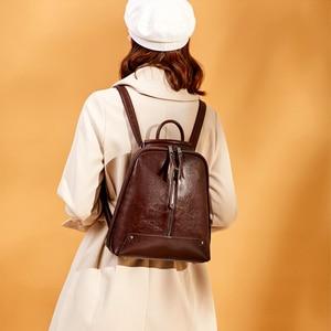 Image 3 - Realer Vrouwen Rugzak Schooltassen Voor Tiener Meisjes Leather Vintage School Rugzak Grote Capaciteit Mochila Schoudertassen 2020