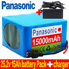 Panasonic 6S6P 24V 15Ah 25.2V lithium battery pack batteries for electric motor bicycle scooter wheelchair with BMS+charger(China)