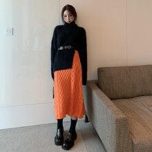 Sweater Spring EWQ Knit Skirt Black 2piece-Set Casual Women New Orange Pullover Gentle