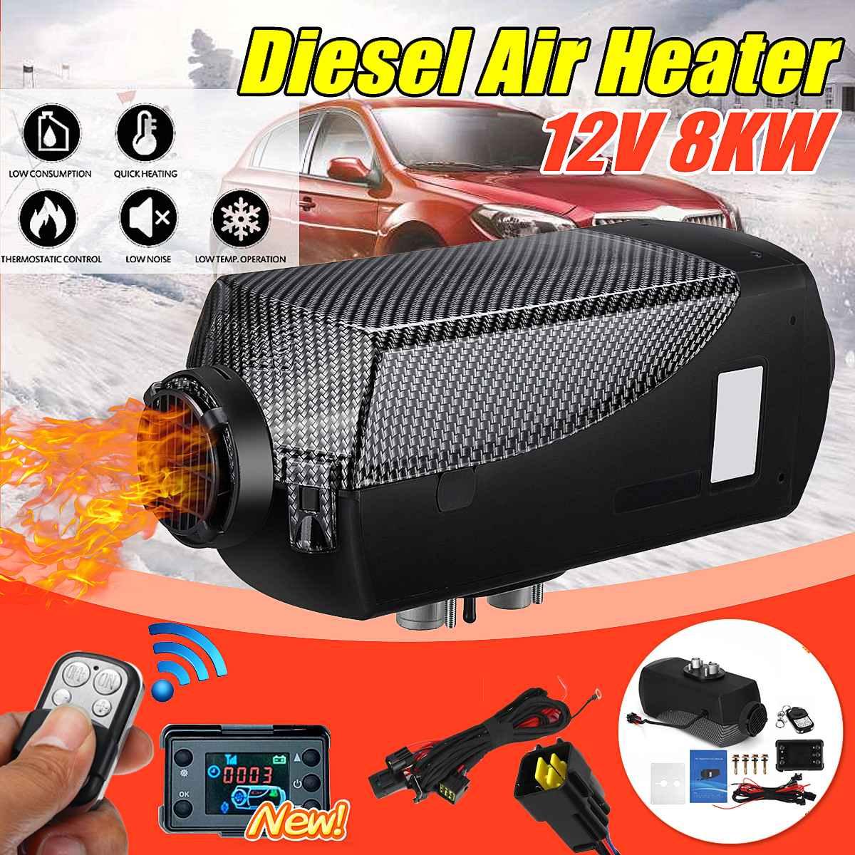 Newest Car Heater 12V 8000W Diesel Air Heater 8KW Black LCD Thermostat Remote Control FOR Car Boat RV Motorhome Trailer Trucks