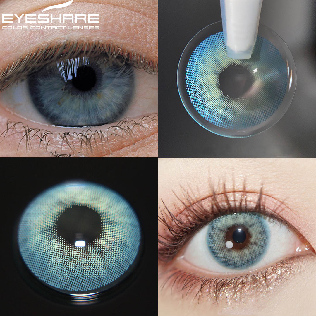 EYESHARE 1pair Eye Lenses Color Contact Lenses Ice Flowers Cosmetic Contact Lens Eye Color Lens Yearly Use Makeup for Eyes