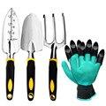 Набор садовых инструментов 4 упаковки с мастеркой  ручные грабли культиватора  шпатель для трансплантации  садовые перчатки для прополки  р...