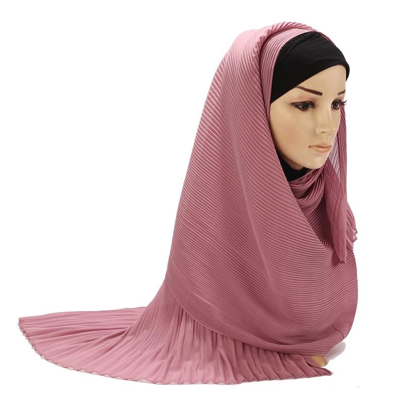 Мусульманский женский шифоновый исламский хиджаб плиссированный однотонный мягкий хиджаб шарф Musulman платок тюрбан морщинки шали и