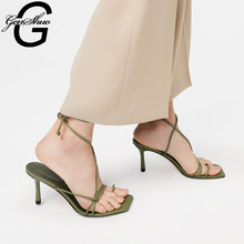 GENSHUO Women Summer Sandals 2020 High Heel Sandals Slippers Strappy Black Heels Open Toe Sandals Narrow Band Green Party Shoes
