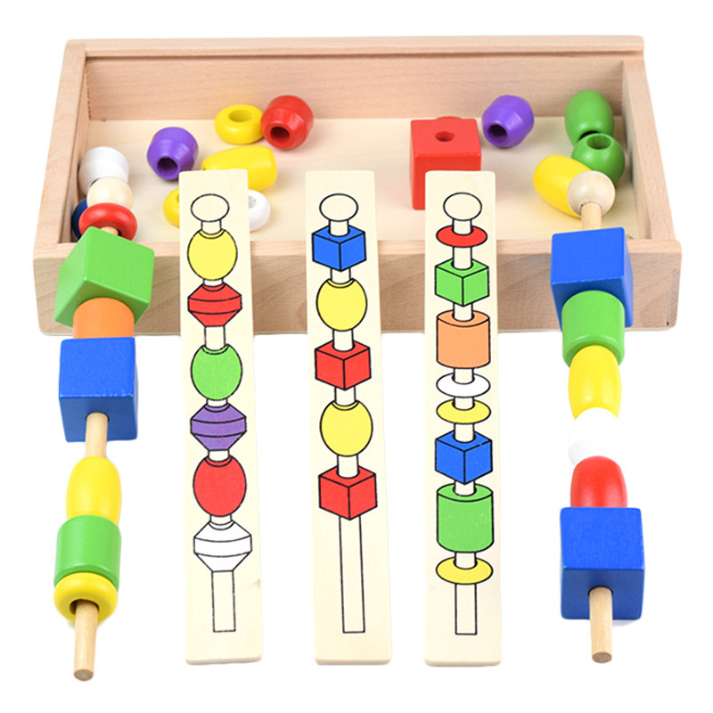 Children'S Educational Beaded Box CHILDREN'S Wooden Montessori Teaching Aids Color Shape Cognitive Hand-Eye Coordination Exercis