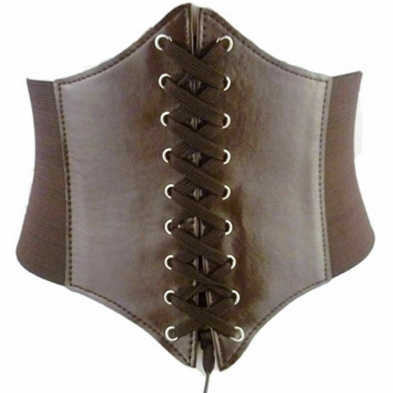 Hot Fashion Women Vintage Rivet Elastic Buckle Wide Waist Cinch Dress Waistband PU Leather Corset Belts
