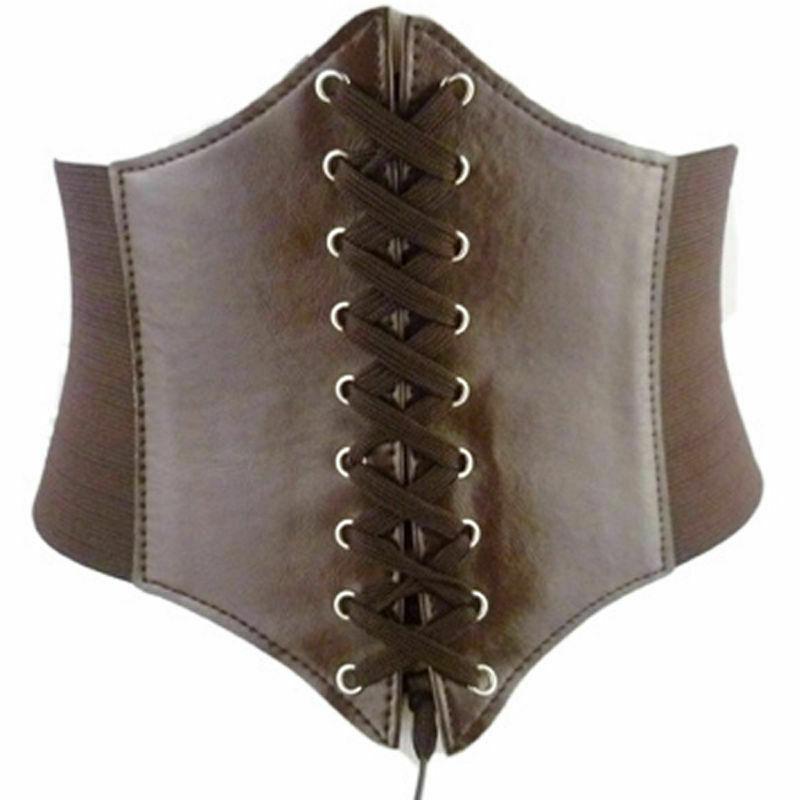 Hot Fashion Women Vintage Rivet Elastic Buckle Wide Waist Cinch Dress Waistband PU Leather Corset Belts