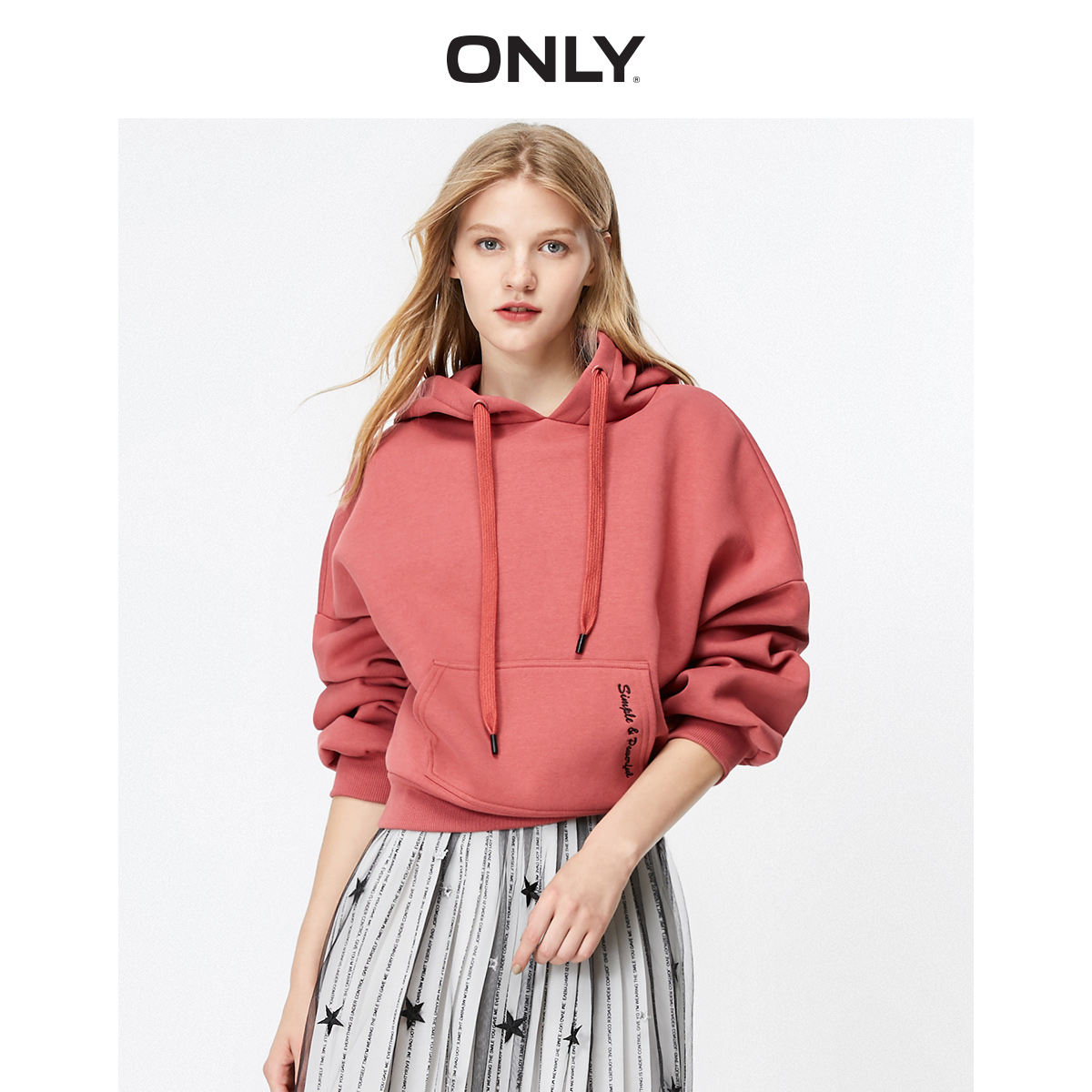 ONLY  Autumn Winter Women's Loose Fit Letter Print Brushed Sweatshirt | 11939S538
