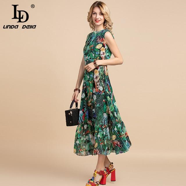 LD LINDA DELLA Elegant Summer Dress Women's Sleeveless High waist Vintage Animal Jungle Floral Print Elegant Midi Holiday Dress 2