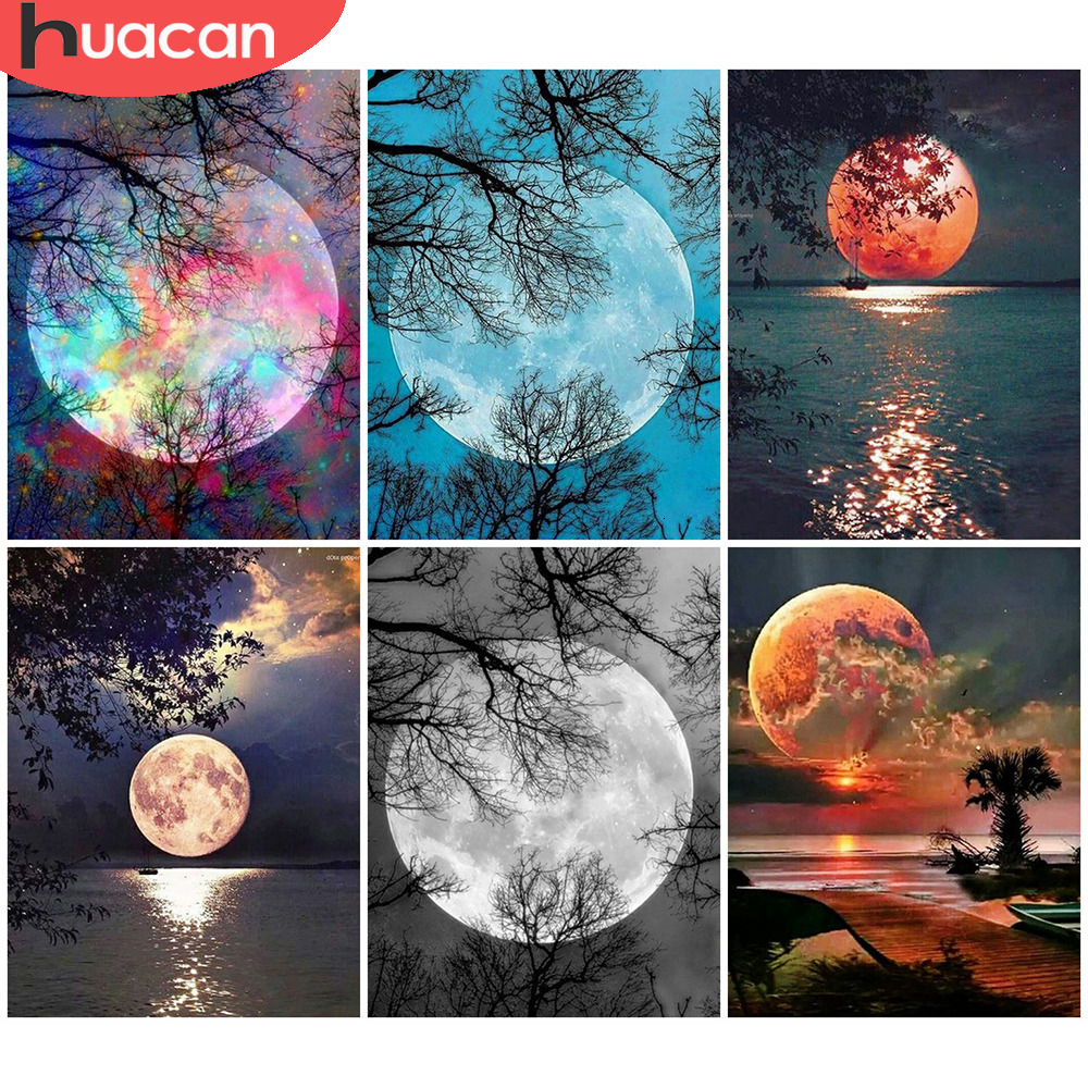HUACAN 5D Diamond Painting Full Round Drill Moon Pictures Diamond Embroidery Scenic Cross Stitch Home Decoration