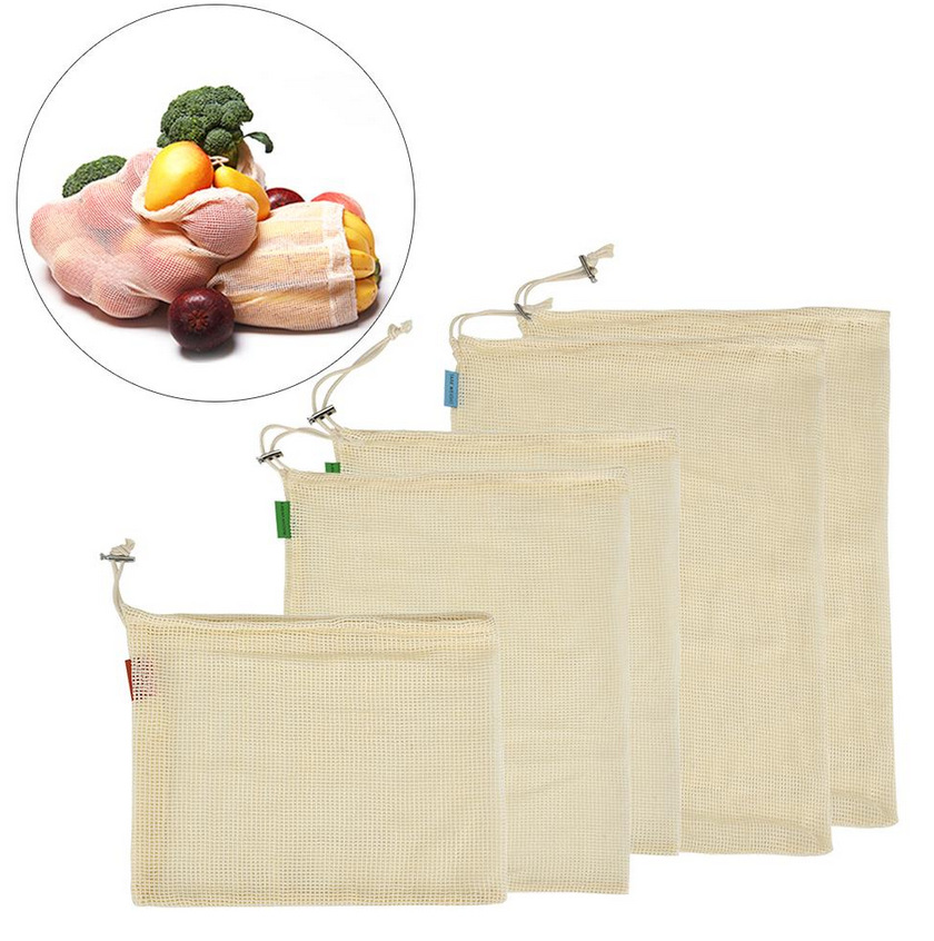 Vogvigo Vegetable Fruit Mesh Bags Eco Cotton Shopping Bag Reusable Storage Mesh Bags Washable Kitchen Home Drawstring Bag