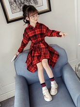 Kids Dresses for Girls with Sleeves 2019 Autumn Plaid Blouse Dress Wedding