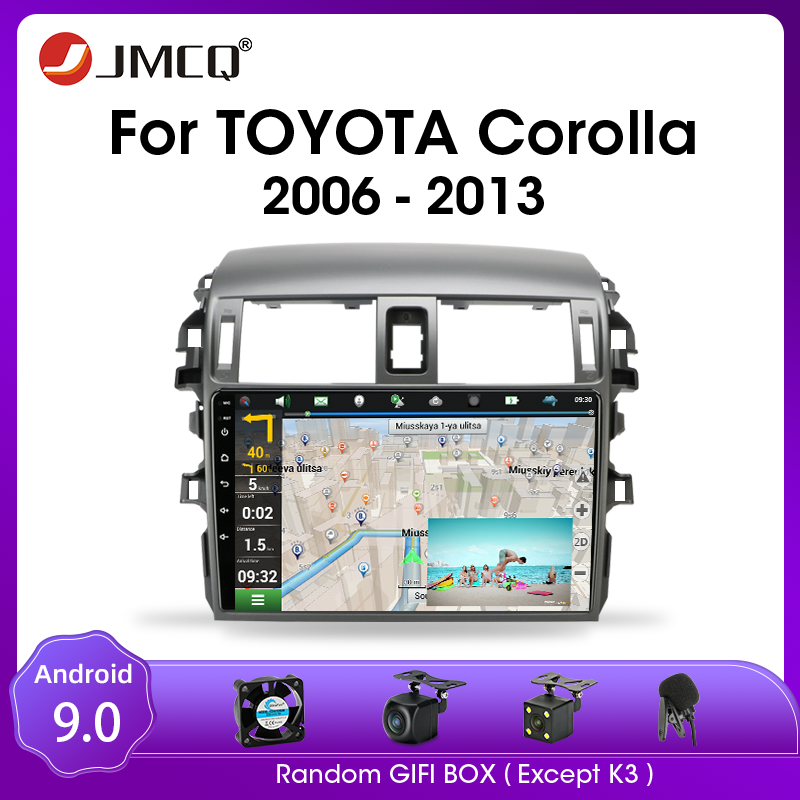 JMCQ For <font><b>Toyota</b></font> <font><b>Corolla</b></font> <font><b>E140/150</b></font> 2006-2013 Car Android 9.0 Radio Multimidia Video Player 2din 4G WIFI GPS Navigaion Split Screen image