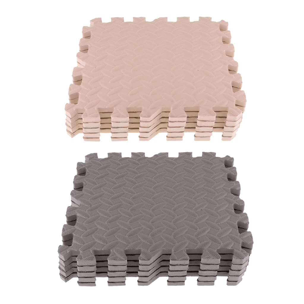 10 Pcs EVA Yoga Exercise Pads Kids Play Mats With Leaf Pattern Beige Coffee