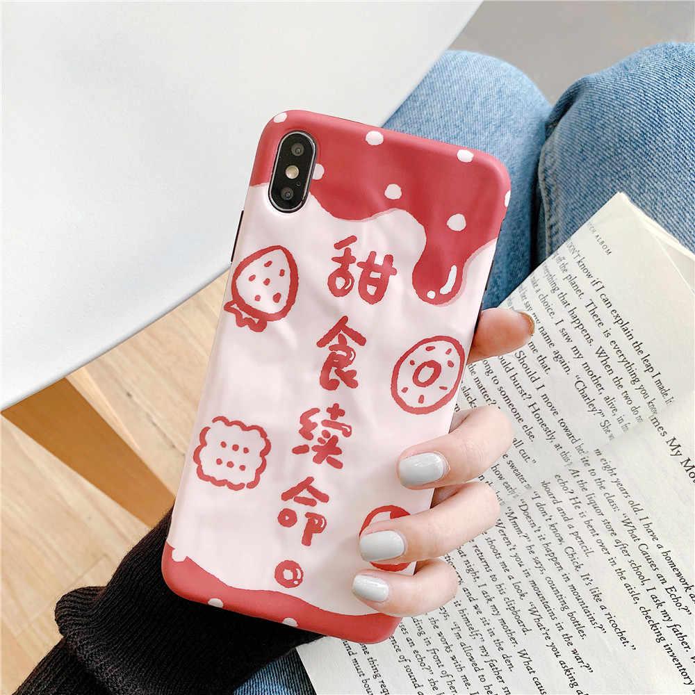イチゴクッキーケース iphone 11 プロ MAX X XS 最大 XR かわいいハード PC + シリコーンエッジカバー iphone 8 7 6S 6 プラスカバー