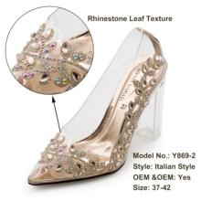 Floral strass saltos claros para as mulheres sapatos extravagantes Y869-2 vestido de festa bombas femininas senhoras sexy sapatos de salto alto vestido para a menina