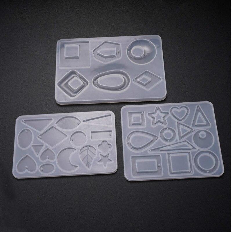 Geometry Pendant Silicone Mold Geometric Resin Jewelry DIY Round Square Rhombus Irregular Charm Mold Resin Jewelry Molds