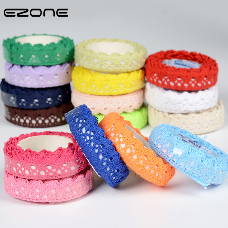 EZONE 2M Cloth Lace Tape Lace Grosgrain Ribbons Adhesive Cotton Knitted Lace Tape DIY Notebook Scrapbook Decor Masking Tape