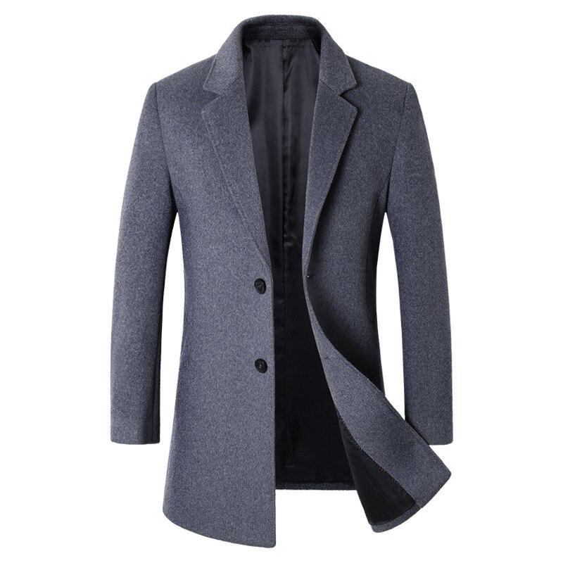 Brand Winter Men's Woollen Overcoat  Male Casual Business Blends Pea Coat Men Long Jacket Overcoat Brand Clothing BG1818