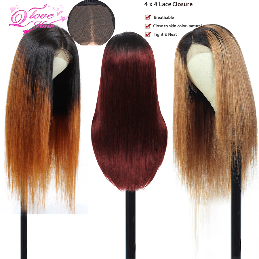 1B/30/99J Ombre Color Lace Closure Human Hair Wigs With Baby Hair 130% 4*4 Straight Brazilian Honey Blonde Lace Wig For Women