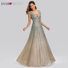 Sparkle Evening Dresses Ever Pretty EP00826BH A-Line Double V-Neck Tulle Sexy Formal For Party Vestido De Festa Longo