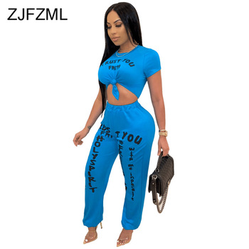 Casual Letters Print 2 Piece Sets Women O Neck Short Sleeve Slim Fit Top Loose Elastic Long Trousers Femme Out Going Streetwears wuhe women fashion o neck short sleeve long swing top and slim pants summer casual two pieces sets playsuits combinaison femme