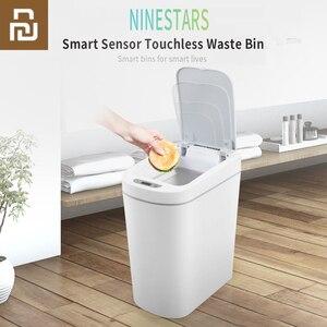 Image 1 - Orijinal Youpin NINESTARS akıllı çöp tenekesi hareket sensörü otomatik sızdırmazlık LED indüksiyon kapağı ses 7L ev Ashcan kutuları moda