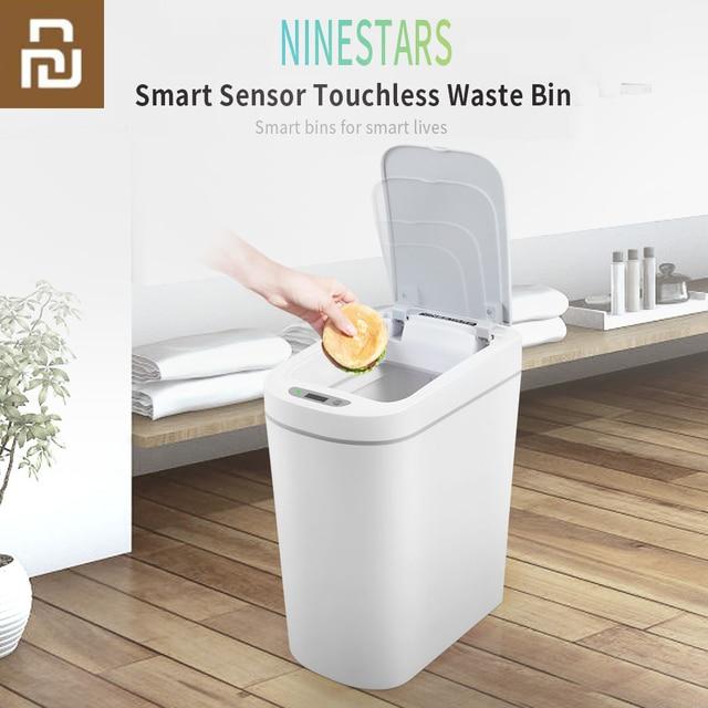 Orijinal Youpin NINESTARS akıllı çöp tenekesi hareket sensörü otomatik sızdırmazlık LED indüksiyon kapağı ses 7L ev Ashcan kutuları moda