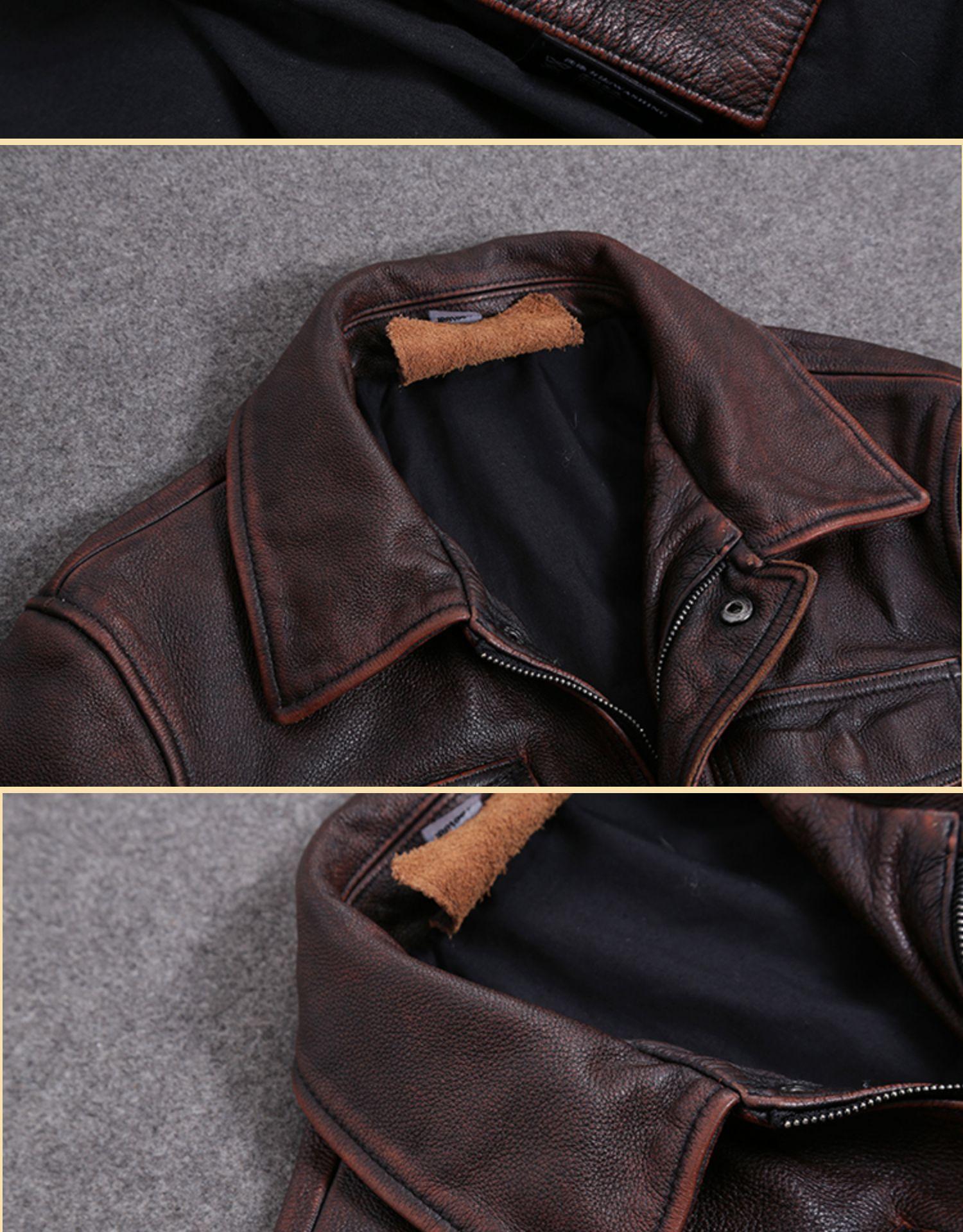 H44b3bfd6b6424f3b86f645da82b43a40E AYUNSUE Vintage Genuine Cow Leather Jacket Men Plus Size Cowhide Leather Coat Slim Short Jacket Veste Cuir Homme L-Z-14 YY1366