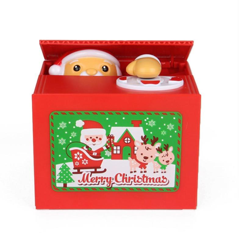 Novel Santa Claus Stealing Coin Piggy Bank Hot Selling Personality Multipurpose Exquisite Saving Box Christmas Toy For Kids