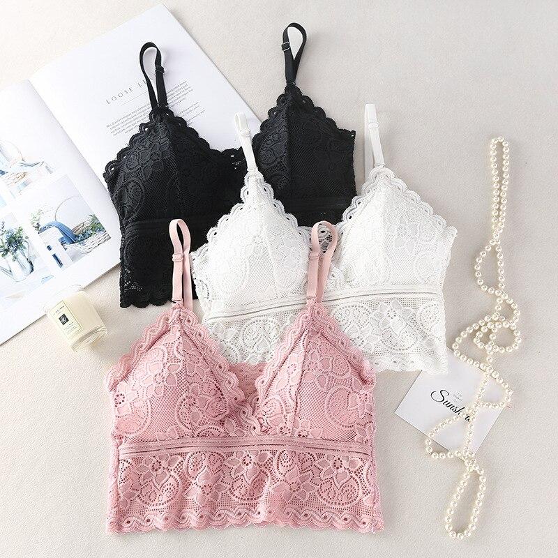 Sexy Bralette Women Bras Deep V Bra Backless Lingerie Lace Brassiere Wireless With Pads Underwear Intimates Free Size #F