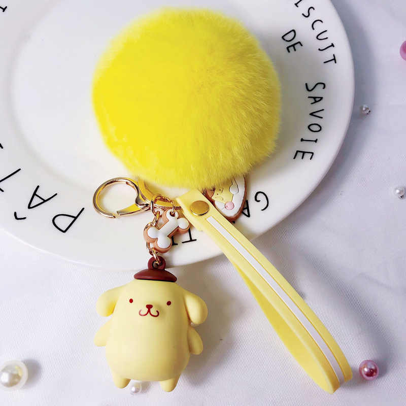 Nuevo dibujo animado de dibujos animados epoxi llavero creativo Bola de Pelo colgante de dibujos animados pingüino llavero anillo muñeca máquina pequeños regalos