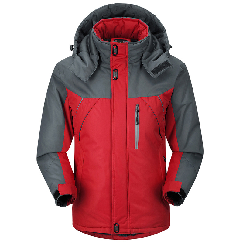 Thick Warm Outdoor Ski Suit Down Feather Cotton-padded Hiking Clothes Hooded Mountaineering Travel Sports Raincoat