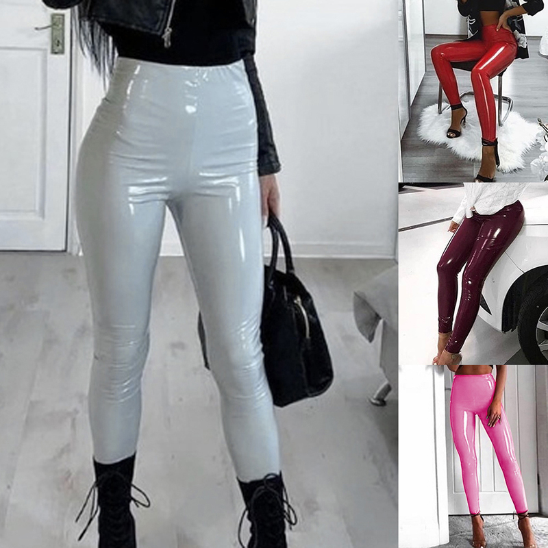 Summer Spring Women's Leather Pants Female Winter High Waisted Pants Leather Trousers PU Skinny Stretch Pencil Pantalons