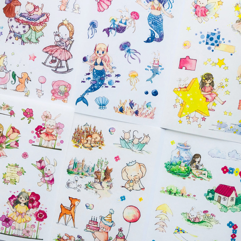 6 Sheets Fairy Tales Cartoon Animals Paper Sticker Adhesive Stick Label Hand Account Decoration
