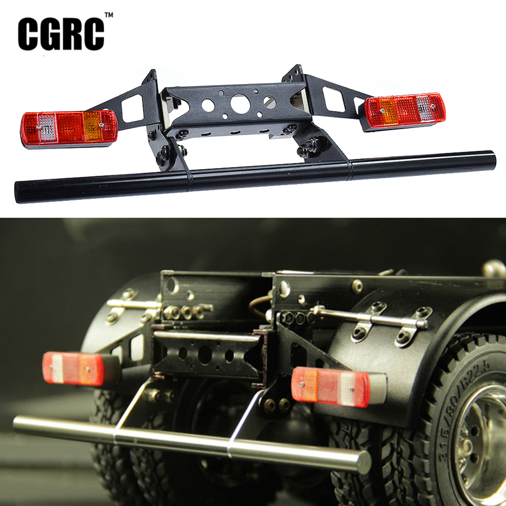Metal Rear Bump Taillamp Cover Kit For 1/14 Tamiya RC Car Tow Drag Trailer Tipper Dumptruck MAN Actros SCANIA R620 Upgrade(China)