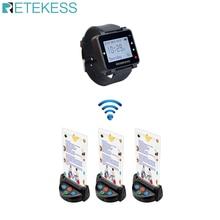 Retekess T128 שעון מקלט + 3pcs TD006 שולחן כרטיס הביפר אלחוטי קורא מערכת למסעדה ציוד שירות לקוחות