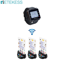 Retekess T128 Watch Receiver+3pcs TD006 Table Card Pager Wireless Calling System For Restaurant Equipment Customer Service