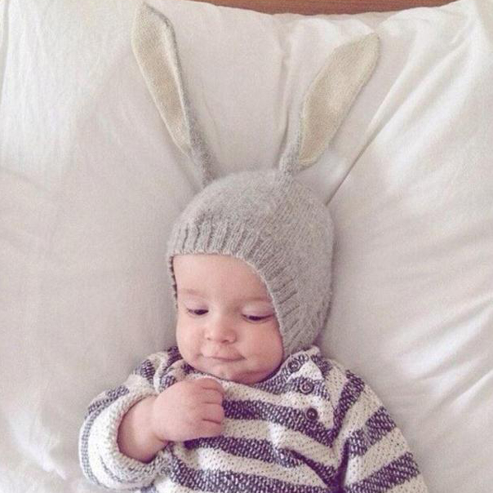 Fashion Toddler Kids Baby Girl Boy Winter Warm Crochet Bunny Ear Knit Beanie Hat