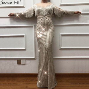 Image 3 - Schwarz Luxus Sexy Abendkleider 2020 Schlank Mermaid Quaste Perlen Langen Ärmeln Abendkleider Für Frau LA60716