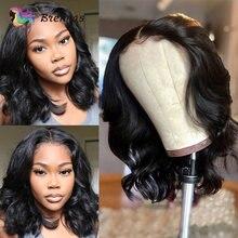 Short Bob Wavy 4x4 Closure Wigs Body Wave Human Hair Wig Preplucked 13x1 Part Lace Wigs Brazilian Remy Hair Wigs For Black Women