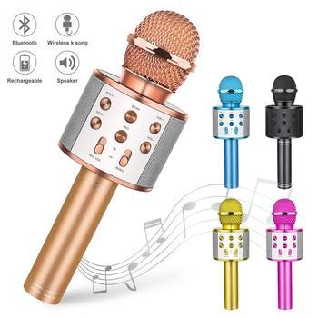 Wireless Bluetooth Karaoke Microphone Handheld Karaoke Mic Audio for Children Musical Stage Toy Music Singing Speaker Kids Gift