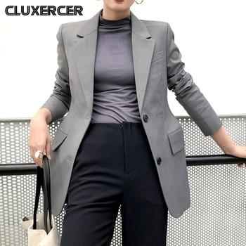 2020 New Spring Autumn Korean Blazers Jackets Women Solid Long Sleeve Office Lady Suit Coat 2020 new spring autumn slim ladies suit long sleeve casual ol korean blazers jackets women plus s short business coats x424