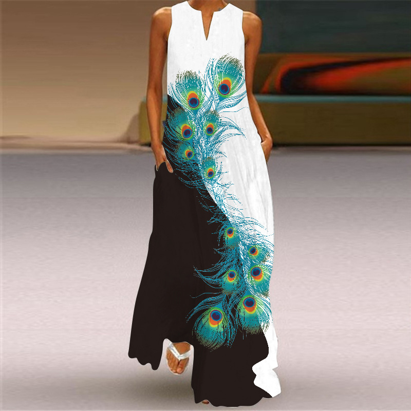 New Fashion Print Summer Dress Casual  Sexy Boho Beach Dresses Women Party Dress V-neck Sleeveless Pocket Plus Size Long Dress 2