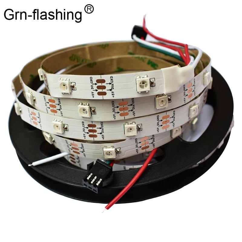5m ws2812B Colorful led strip light SMD 5050 30leds/m IP30 white PCB DC5V powered 2812 IC Dream Magic Color flexible strip light