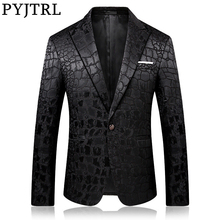 Blazer Men Costume Pyjtrl-Trend Male Casual Fashion Veste Jacquard Homme Quality