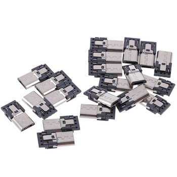 20 pcs/lot 4 Pin Micro USB Connector Jack Tail USB Plug Sockect Terminals Male Connectors 10 pcs lot type a usb 2 0 female double layer 8 pin dip 30v 1 5a connectors warp tail plug port jack socket electric terminals