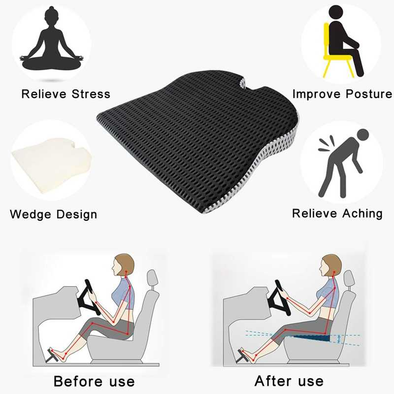 ANXWA Coussin De Siege Doux Premium Coussins FOURNIT du Confort,pour Voiture Chaise De Bureau Fauteuil Roulant,pour Hip Back Sciatica Relief Pain Beige 45x48cm 18x19inch