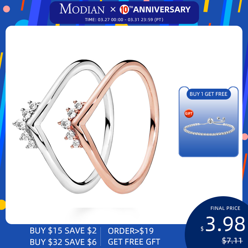 Modian 2020 Hot 100% 925 Sterling Silver Sparkling Stackable Finger Rings For Women Fashion Original Christmas Gift Jewelry