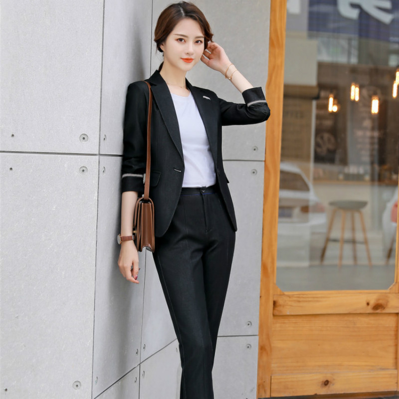 Women's Suit 2019 Autumn New Fashion Temperament Casual Solid Color Slim Single Buckle Small Suit Trousers Two-piece